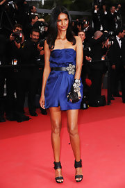 Liya Kebede was sexy-chic in a strapless blue mini by Lanvin during the 'Les Bien-Aimes' premiere.