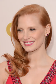 Jessica Chastain's Harry Winston ruby studs coordinated perfectly with her blinged-up gown at the Critics' Choice Movie Awards.