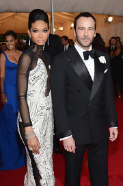 Chanel Iman styled her vampy gown with a diamond cuff bracelet and a matching ring for the Met Gala.