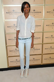 Liya Kebede put her slim legs on show in a pair of faded skinny jeans.