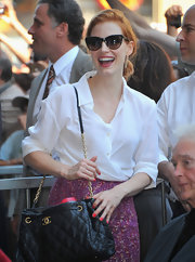 Jessica Chastain arrived for Sissy Spacek's Walk of Fame ceremony carrying a luxe Chanel quilted bag.