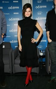 Those bright red tights were a clever way to inject some color into Rachel Bilson's look.