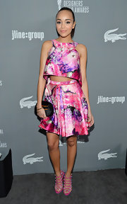 Ashley Madekwe made a sassy appearance at the Costume Designers Guild Awards in a vibrant-print high-low crop-top by J. Mendel.