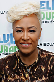 Emeli Sande visited the Elvis Duran Z100 Morning Show wearing her hair in a platinum-blonde fauxhawk.