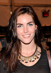 Hilary Rhoda swiped on some blue eyeshadow for a bit of color to her look.