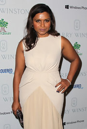 Mindy Kaling paired a diamond bracelet with a beige dress for the Baby2Baby Gala.