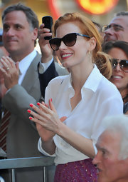 Jessica Chastain kept the sun at bay with chic cateye shades by MDG, Madonna's collaboration with Dolce & Gabbana.