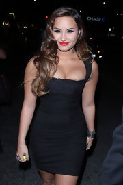 Demi Lovato teamed some silver chain bracelets with a skintight LBD for Perez Hilton's pre-VMA party.