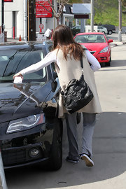 Jessica Biel accessorized with an edgy black leather bag while out in Studio City.
