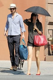 Famke Janssen strolled around NYC wearing a dotted silk top.