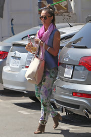 Jessica Alba stepped out in LA wearing sweet-looking watercolor-print pants.