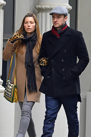 Jessica Biel accessorized with a plaid scarf for an extra layer of warmth.