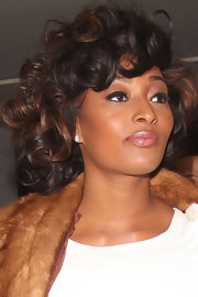 Toccara Jones wore her hair in bouncy curls while enjoying a night out.
