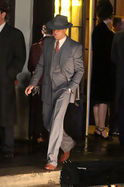 Ryan Gosling wore an old-fashioned pinstriped suit on the set of 'Gangster Squad.'