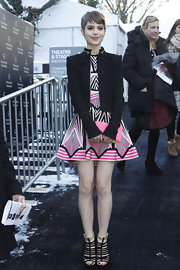 Sami Gayle's black cropped jacket and geometric-print dress at the Herve Leger fashion show were a flawless combination.