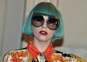 Lady Gaga rocked a super-blunt turquoise bob during her EuroPride show in Rome.