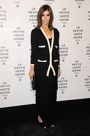 Carine Roitfeld covered up in style with a black-and-white Chanel cardigan during the Little Black Jacket exhibition launch.