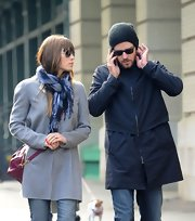 Jessica Biel took a stroll looking toasty in a patterned blue scarf and a gray wool coat.