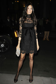 Famke Janssen attended the Gotham Independent Film Awards wearing a turtleneck lace overlay dress.