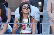 Camilla Belle accessorized with a pair of rectangular sunnies while watching the US Open.