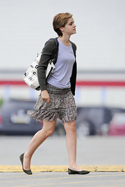 Emma Watson completed her shopping attire with comfy green suede flats by J. Crew.