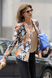 Linda Evangelista was seen out with her son wearing a preppy floral blazer.