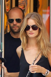 Rosie Huntington-Whiteley stepped out in New York wearing a pair of oversized aviators.
