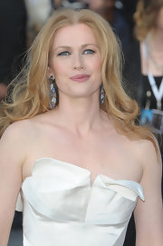 Mireille Enos sported a pair of diamond and sapphire mosaic dangle earrings at the London premiere of 'World War Z.'
