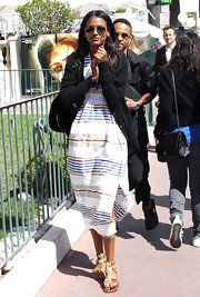 Liya Kebede injected some shine into her look with a pair of gold gladiator sandals.