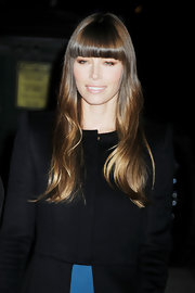 Jessica Biel was spotted outside the 'Letterman' studio wearing a gently wavy 'do with sleek, blunt bangs.