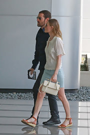 Kate Bosworth was spotted in LA wearing a girly white Topshop blouse and a denim mini.