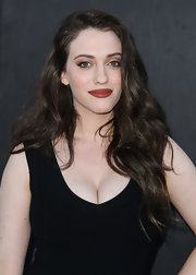 Kat Dennings attended the Summer TCA party wearing her hair in long, lush waves.