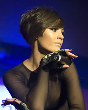 Frankie Sandford wore her hair in a trendy wedge cut while performing at Galaxy Radio's first birthday party.
