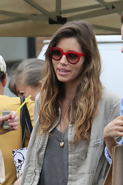 Jessica Biel stepped out in LA wearing funky red cateye sunglasses by Dolce & Gabbana.