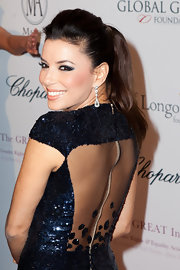 Eva Longoria styled her ponytail with a dazzling pair of diamond drop earrings by Chopard for the Global Gift Gala.