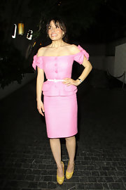 Vanessa Marcil accessorized her pink Dior look with lemon snakeskin pumps.