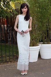 Caroline Sieber showed off her super-slim figure in a white tweed column dress during the Serpentine Gallery Summer Party.