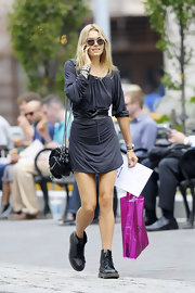 Jessica Hart contrasted her sexy dress with a pair of edgy black Doc Martens.