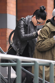Katy Perry teamed a skull-print scarf with a studded leather jacket for her edgy look while out in New York City.