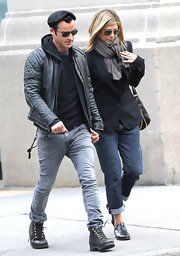 Jennifer Aniston was spotted out in New York City looking casual in boyfriend jeans and a blazer.