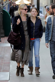 Kate Bosworth went shopping in LA sporting a brown suede cross-body tote, coat, and dress combo.