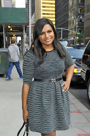 Mindy Kaling paired a black leather belt with a cute fit-and-flare dress for her visit to 'Letterman.'