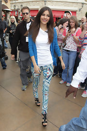 Victoria Justice wore these zany printed skinny pants at The Grove in Los Angeles.