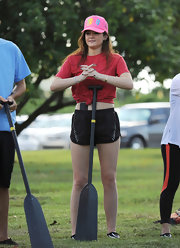 Kylie Jenner dressed down in a red T-shirt for a boat ride in Miami.