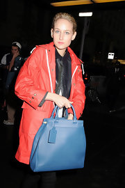 Leelee Sobieski visited 'Jimmy Fallon' wearing a raincoat and leather jacket ensemble.