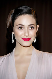 Emmy Rossum attended the Global Green USA pre-Oscar party wearing a retro-glam bobby-pinned updo.