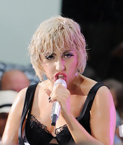 Lady Gaga visited 'The Today Show' wearing a messy, wet-look haircut.
