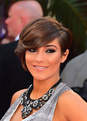 Frankie Sandford attended the London premiere of 'The Hangover Part III' wearing perfectly styled emo bangs.