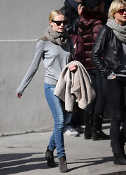 Kate Bosworth added more warmth with a gray scarf tied snugly around her neck.