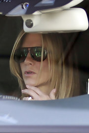 Jennifer Aniston accessorized with sporty shield sunglasses while out in New York City.